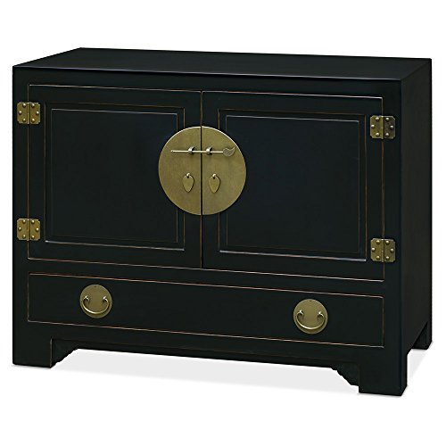 China Furniture Online Elmwood Cabinet, 44 Inches Hand Crafted Ming Style Cabinet in Distressed Black Finish