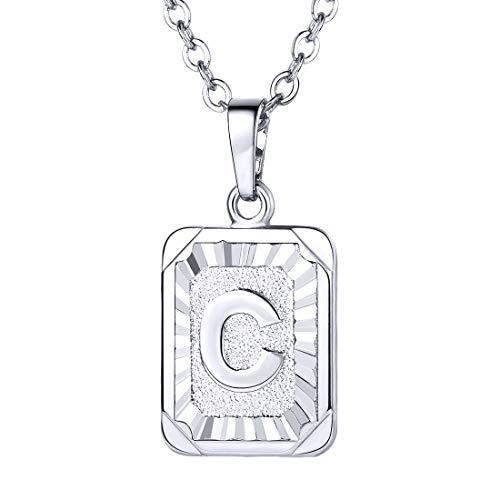 U7 Monogram Necklace A-Z 26 Letters Pendants Platinum Plated Initial Necklaces for Women (Letter ()