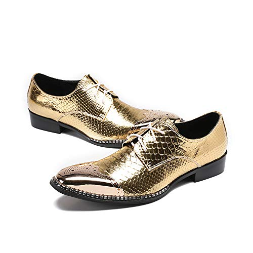 los los el otoño Hombres Zapatos pie 40 del Cuero Los Vintage Chlyuan del de de del tamaño 3 EU del de Primavera la del señalaron para 2 Zapatos varón Dedo Negocio PTXxxSq