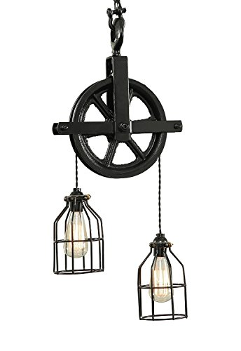 West Ninth Vintage Iron Barn Pulley Light | Black
