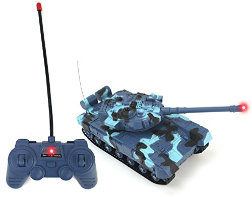 Remote Controlled Rc Battle Tank - Battery Operated Remote Controlled Infared Blue Camo VS Battle RC Toy Tank w/ Realistic Sounds, Infrared Light, Remote Control, Rotating Cannon, Realistic Firing Action, & VS Interaction