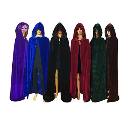QBSM Halloween Velvet Cloak Witch Costume Hooded Party Raven Cosplay Capes