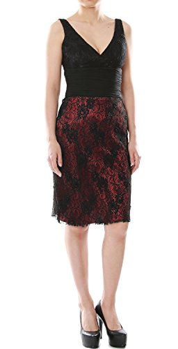 Gown Formal V Negro Dress Bride Cocktail Lace Mother Neck Macloth Of Women Short Burgundy fxnvq5wPR