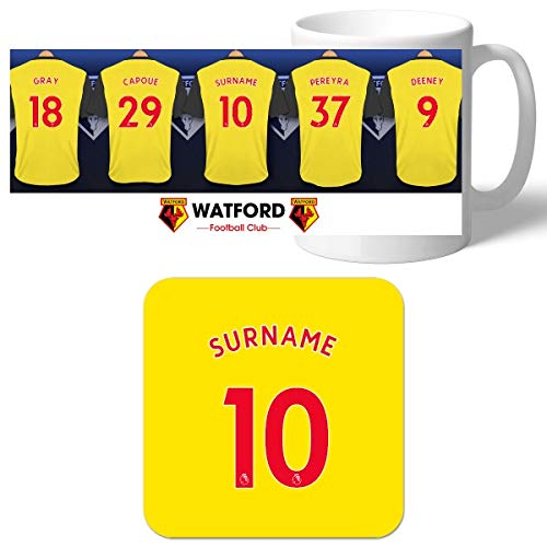 Official Personalised Watford FC Dressing Room Mug /& Coaster Set