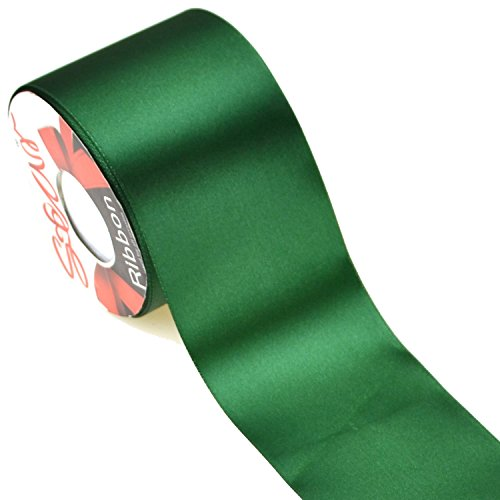 Star Quality 3 Inch Wide Satin Ribbon by 25 Yard Spool| Polyester Ribbon for Floral Arrangement, Wedding Bouquet, and Big DIY Artwork Projects | No Fading Woven Ribbon (3 Inch Width, Christmas Green) ()