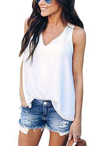 HOTAPEI Women's Casual V Neck Summer Sleeveless Racerback Sexy Blouse Flowy Tank Tops White US 12-14 ()