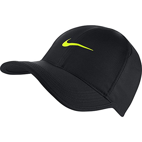 NIKE Feather Light Tennis Hat (BLACK/BLACK/VOLT, One Size) (Feather Light Hat Womens)