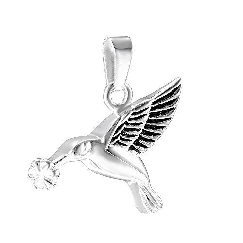 Sterling Pendant Hummingbird (Elegant Butterfly Necklace 925 Sterling Silver Pendant Memory Keepsake Urn Necklace for Ashes (Hummingbirds-Silver and Black))