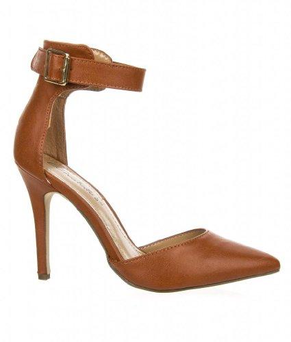 Women's Ankle Strap Classy D'orsay Dress Pump, Isabel-01 tan 6