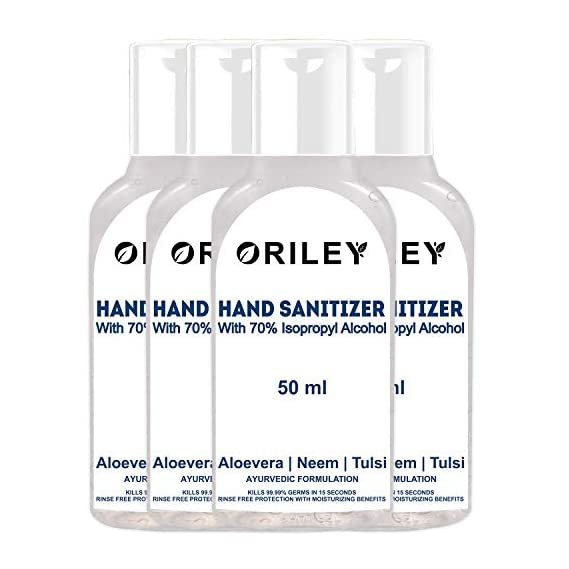 Oriley Waterless Hand Sanitizer 70% Isopropyl Alcohol Based Instant Germ Protection Sanitizing Gel Rinse-free Palm