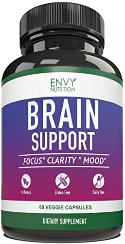 Brain Support Supplement Formula - Booster Memory, Clarity Serotonin Levels, and Mood & Focus with Naturals Supplements - Decrease Anxiety & Depression - 60 Vitamin Pills
