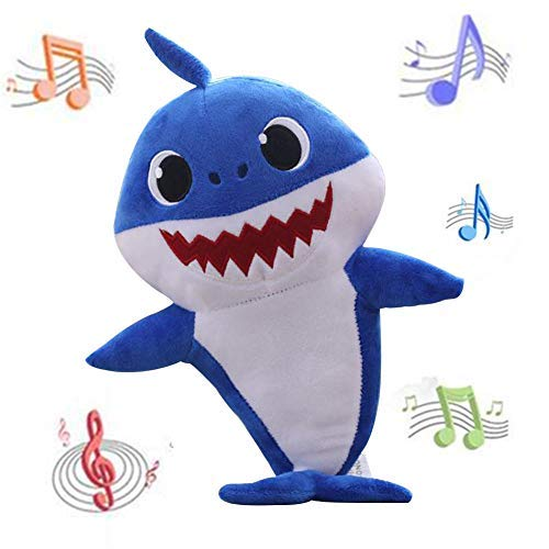 - ACGN Baby Shark Official Singing Plush Song Doll, Adorable Plush Toy, Music Toy ,Gifts for Kids (Blue)