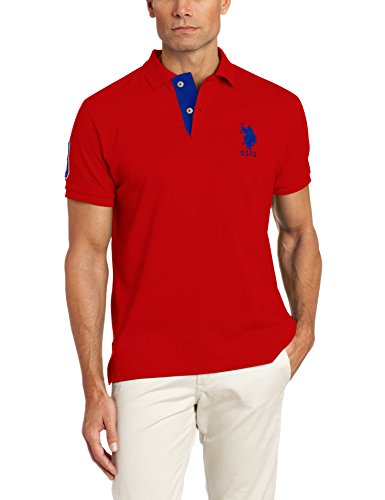 U.S. Polo Assn. Men's Slim Fit Pique Polo, Engine Red/International Blue, X-Large
