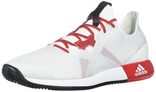 adidas Women's Adizero Defiant Bounce w Tennis Shoe, White/Scarlet/core Black, 6.5 M US
