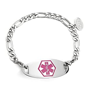 BBX JEWELRY Stainless Steel Figaro Chain Medical Alert Bracelets Interchangeable Pink ID Tag for Women Men