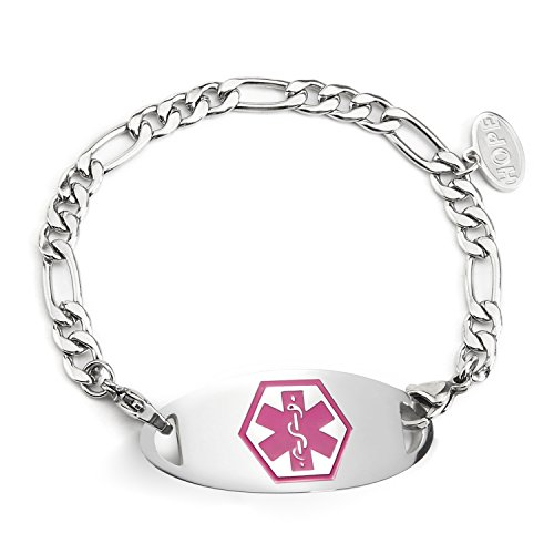BBX JEWELRY Stainless Steel Figaro Chain Medical Alert Bracelets Interchangeable Pink ID Tag for Women Men ()