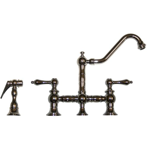 Whitehaus WHKBTLV3-9201-POCH Vintage III Kitchen Bridge Faucet with Long Traditional Swivel Spout, and Matching Side Spray, Polished Chrome (Faucet Whitehaus)