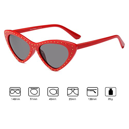 Frame Retro Triangle de Eye Gafas sol C2 Sunglasses juqilu Mujeres UV400 pequeñas Cat vqAFT