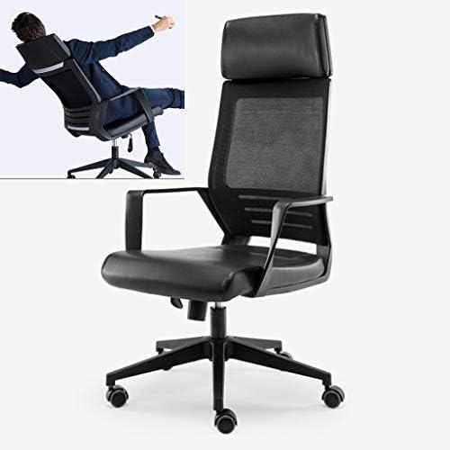 腰椎サポート、コンピュータのデスクチェア、ヘッドレスト、アームレスト、フェイクレザークッション&メッシュ、ナイロンフレーム、調節可能なシート高、人間工学に基づいて設計してオフィスチェア (色 : 黒)