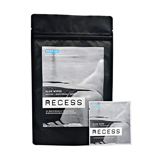 RECESS BODY 301 | Aloe Wipes to Soothe & Moisturize Sunburn, Windburn and Dry Skin | with Witch Hazel | Alcohol-Free Wipes For Sensitive Skin | (15 Pack)