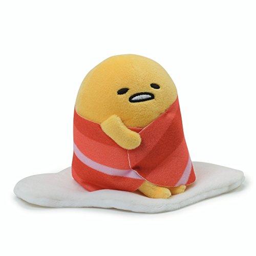 "GUND Sanrio Gudetama The Lazy Egg with Bacon Blanket Stuffed Animal Plush, 4.5"""