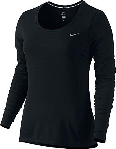 Nike Women's Dri-FIT? Contour Long Sleeve Black/Reflective Silver T-Shirt XL