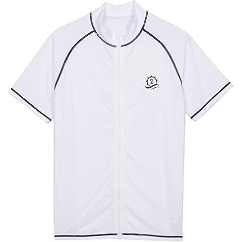 Mens Rash Guard with Zipper Short Sleeve White XL SwimZip - Short Sleeve Zipper
