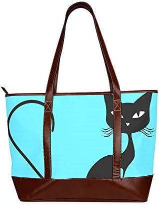 QIAOLII Black Cat Vector Lady Sac à main Sacs à main Sacs à bandoulière Grande capacité Imprimé Sac fourre-tout décontracté avec fermeture à glissière sur la poignée