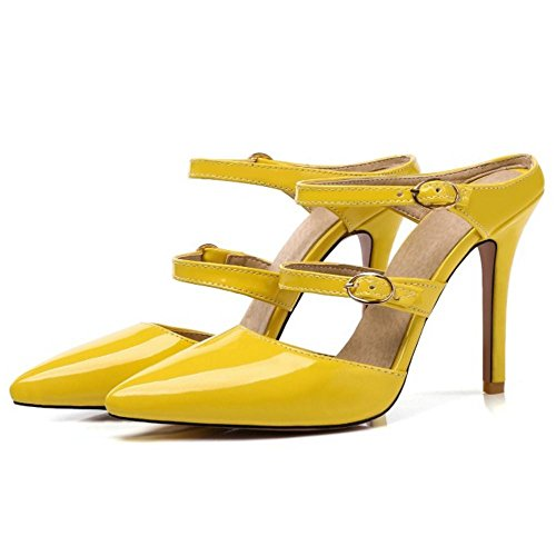 Haut Aiguille Yellow Femmes Talons AicciAizzi Sandales Mules 48pwKOF
