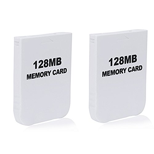 HDE 2 Pack of 128 MB Gaming Memory Cards for Nintendo Wii and GameCube (White)