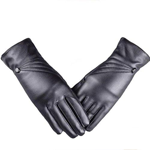 Ularmo Super warme und Touchscreen, Damen Luxuriöse PU-Leder Winter Handschuhe Cashmere.Autofahrer-Handschuhe,Schifahren