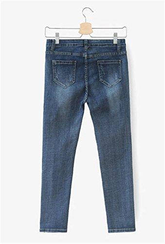 Ginocchio Eleganti Pantaloni Autunno Strappati 2017 Classica Corea Jeans Donna Cargo Relaxed Elasticizzati A Jothin Skinny Matita Fasciante Calzoni 4qg1Ix