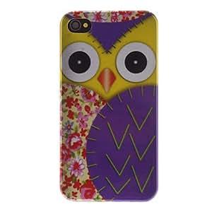 CL - Búho Mirando 2D con flora y Wing patrón caso duro PC púrpura para el iPhone 4/4S