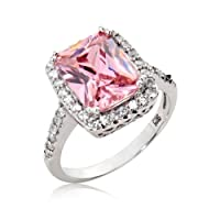Sterling Silver Ring Radiant Cut Pink Cubic Zirconia CZ Ring 4.5 ct.tw - Nickel Free Engagement Wedding Ring (Available in Sizes 6 to 8) from Cavalier Jewelers