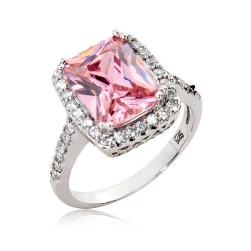Amazon sterling silver engagement wedding ring radiant cut pink sterling silver engagement wedding ring radiant cut pink cubic zirconia cz ring 45 ct junglespirit Gallery