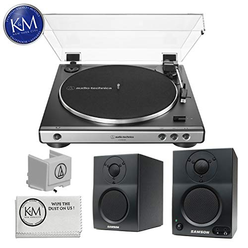 (Audio-Technica Consumer AT-LP60XUSB Stereo Turntable (Gunmetal) w/ Extra Stylus and Samson BT3 Speakers)