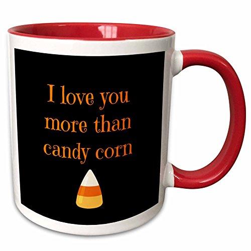 3dRose BrooklynMeme Halloween - I love you more than candy corn with black background - 11oz Two-Tone Red Mug (mug_221787_5)