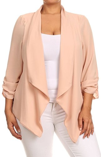 2LUV Plus Women's Open Front Gathered Sleeve Plus Size Blazer – X-Large, Beige