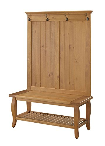 "Linon Santa Fe Hall Tree, 40""W x 17.99""D X 64.02""H, Natural - Comfortable wide Seat Bottom shelf and four hooks provide storage Stylish curvy legs - hall-trees, entryway-furniture-decor, entryway-laundry-room - 41uCUoyi9JL -"