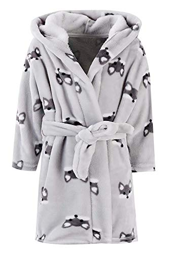 Kids Robe, Flannel Plush Fleece Bathrobe Fox Pattern Cosplay Costume Robe for Toddler Little & Big Girls/Boys, Grey Fox, 11-12 Years = Tag 170