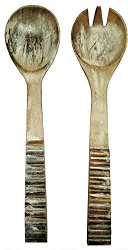 (Purpledip Wooden Serving Spoon & Fork Set 'Last Millenia': Antique Design Tableware or Kitchen Decorative Accent (11633) )