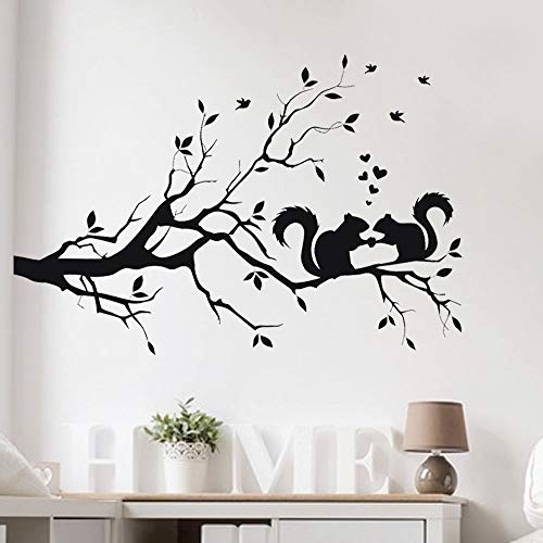 WSYYW Squirrel On Long Tree Branch Wall Sticker Animals Cats 3D Art Decal Kids Room Home Decor Stylish Green 58x38cm