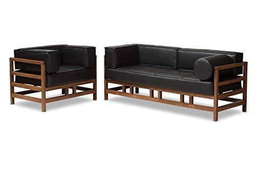 Baxton Studio Gavina Mid-Century Modern Pine Black Faux Leather Walnut Wood 2-Piece Living Room Sofa Set