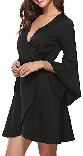 Cruiize Des Femmes De Cou Classique V Évasée Bandage De Ceinture De Manchon Robes Midi Noir