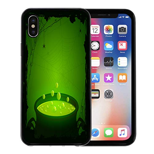 Emvency Phone Case for Apple iPhone Xs case,Witch Halloween Witches Cauldron Green Potion and Spiders Brew Cartoon Pot for iPhone X Case,Rubber Border Protective Case,Black