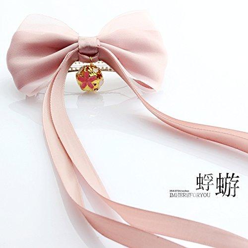 (usongs Genuine fantasy pink silk yarn sweet bow spring clip hair ornaments top Headwear)