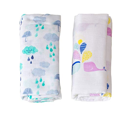 Organic Baby Swaddle Breathable Cotton Bamboo Fabric Receiving Blanket 2 Pack 2 Microfleece Swaddling Blankets