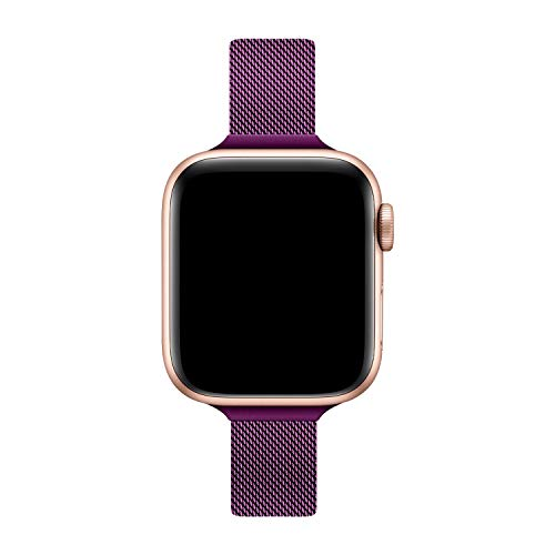 TRA Metal Slim Band Compatible for Apple Watch Band 38mm 40mm 42mm 44mm, Stainless Steel Mesh Adjustable Loop Replacement Thin Strap Wristband for iWatch Series 5/4/3/2/1 Women & Men (Rose Red, 38mm/40mm)