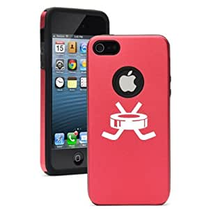 Apple iPhone 5 5s Red 5D2464 Aluminum & Silicone Case Cover Hockey Puck with Sticks