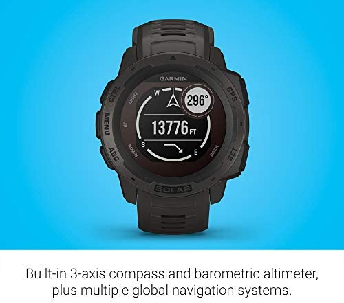 Garmin Instinct Solar, Solar-Powered Rugged Outdoor Smartwatch, Built-in Sports Apps and Health Monitoring, Graphite